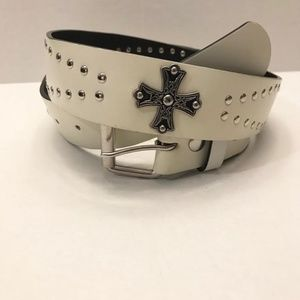 Accessories - White Bonded Leather Stud and Cross Bling Belt